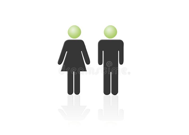 Het pictogram van de man en van de vrouw, één man, één vrouw vector illustratie