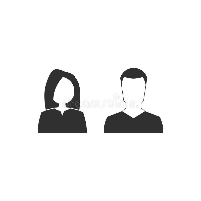 Het pictogram van de man en van de vrouw de vlakke stijl van Webpictogrammen Vector illustratie EPS10 stock illustratie