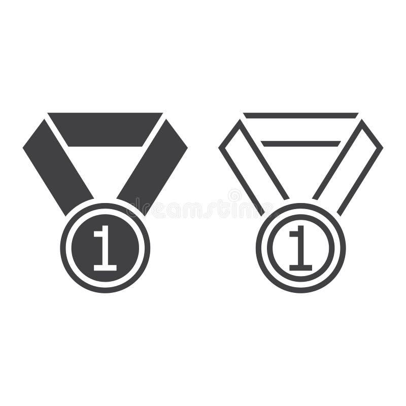 Het pictogram van de medaillelijn, overzicht en stevig vectorteken, lineair en volledig vector illustratie