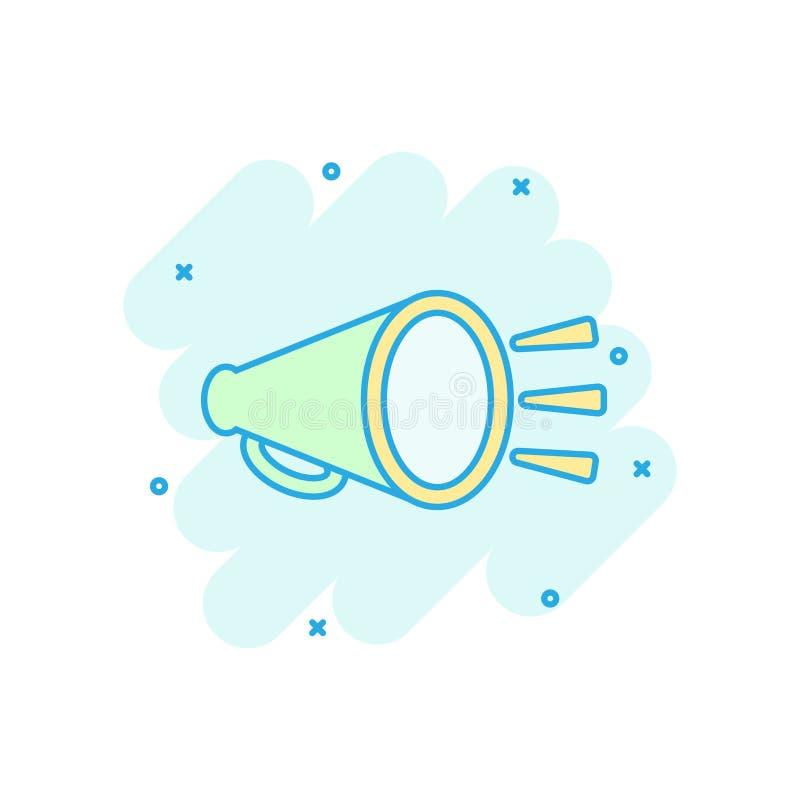 Het pictogram van de megafoonspreker in grappige stijl Illustratie van het megafoon de vectorbeeldverhaal op wit geïsoleerde acht stock illustratie