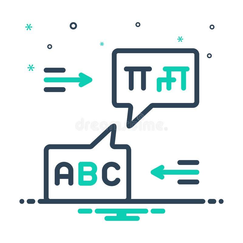 Het pictogram van de mengeling voor Tweetalig, taal en manuscript stock illustratie