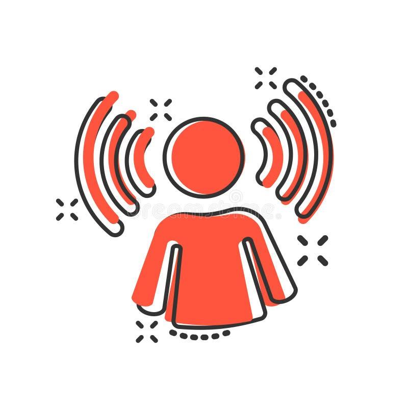 Het pictogram van de meningsvoorlichting in grappige stijl Illustratie van het idee de menselijke vectorbeeldverhaal op wit geïso vector illustratie