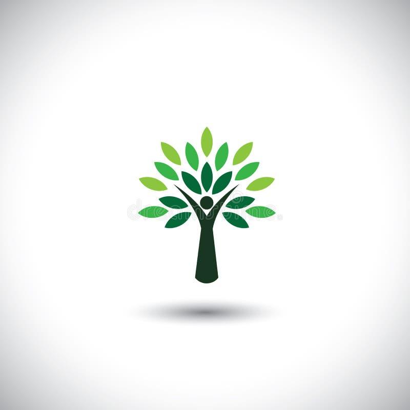 Het pictogram van de mensenboom met groene bladeren vector illustratie