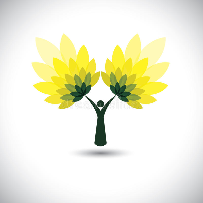Het pictogram van de mensenboom met groene bladeren - de vector van het ecoconcept stock illustratie