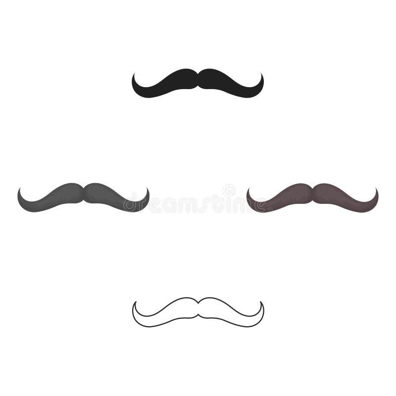 Het pictogram van de mensens snor in beeldverhaal, zwarte die stijl op witte achtergrond wordt geïsoleerd De voorraad vectorillus royalty-vrije illustratie
