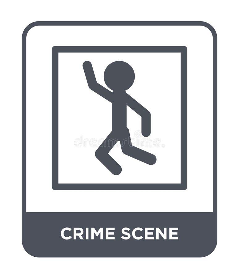 het pictogram van de misdaadscène in in ontwerpstijl het pictogram van de misdaadscène op witte achtergrond wordt geïsoleerd die  stock illustratie