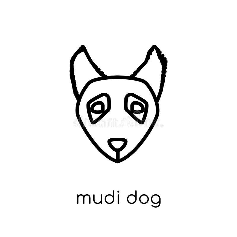 Het pictogram van de Mudihond In modern vlak lineair vectormudi-hondpictogram  stock illustratie