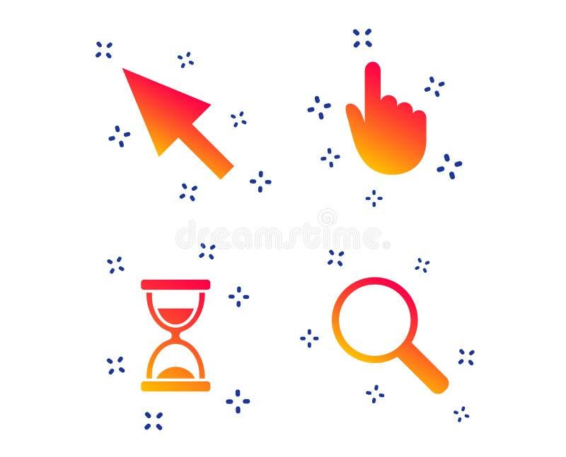 Het pictogram van de muiscurseur Zandloper, meer magnifier glas Vector vector illustratie