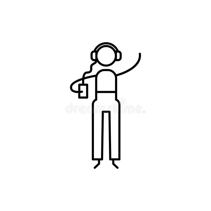 het pictogram van de muziekminnaar Element van menselijk hobbyspictogram voor mobiel concept en Web apps Het dunne de minnaarpict stock illustratie