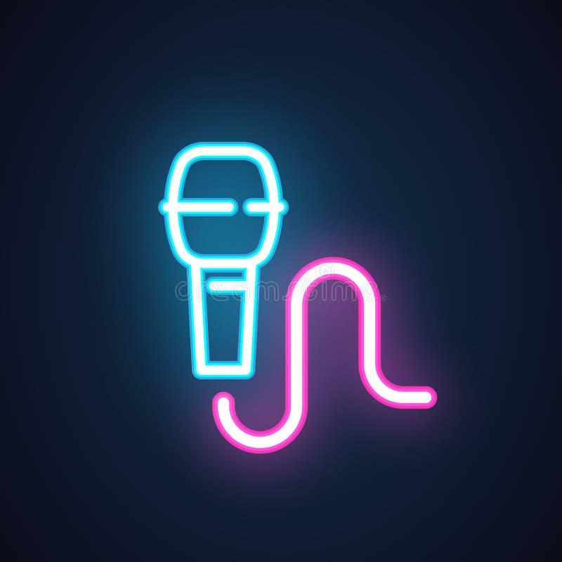 Het pictogram van de neonmicrofoon Het symbool van karaoke, overleg, levende muziek, slag, tribune toont omhoog via de radio uit, stock illustratie
