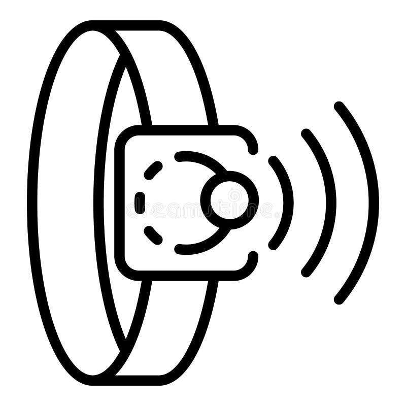 Het pictogram van de Nfcarmband, overzichtsstijl stock illustratie