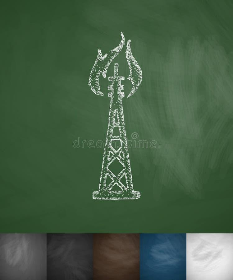 Het pictogram van de olieboortoren royalty-vrije illustratie