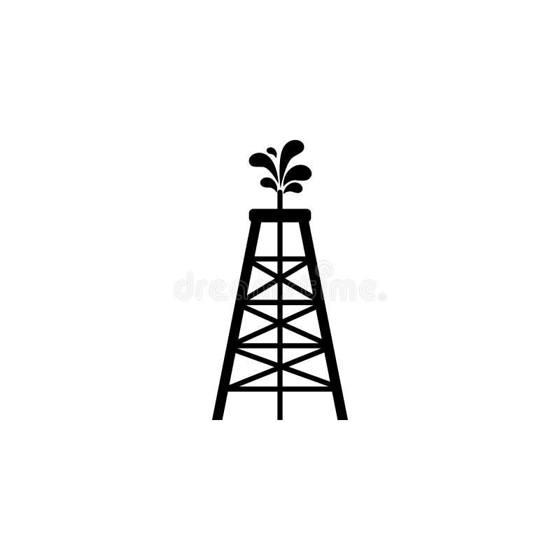 Het pictogram van de olieboortoren Olie de elementen van een gaspictogram Grafisch het ontwerppictogram van de premiekwaliteit Ee royalty-vrije illustratie