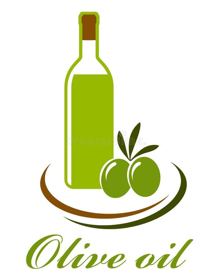 Het pictogram van de olijfoliefles stock illustratie
