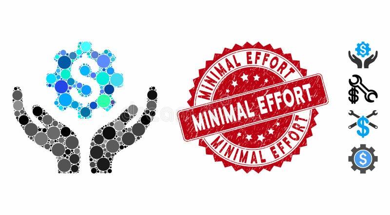 Het pictogram van de Onderhoudsprijs van het collage met de Minimale Inspanning van de Inspanning zegeling royalty-vrije illustratie