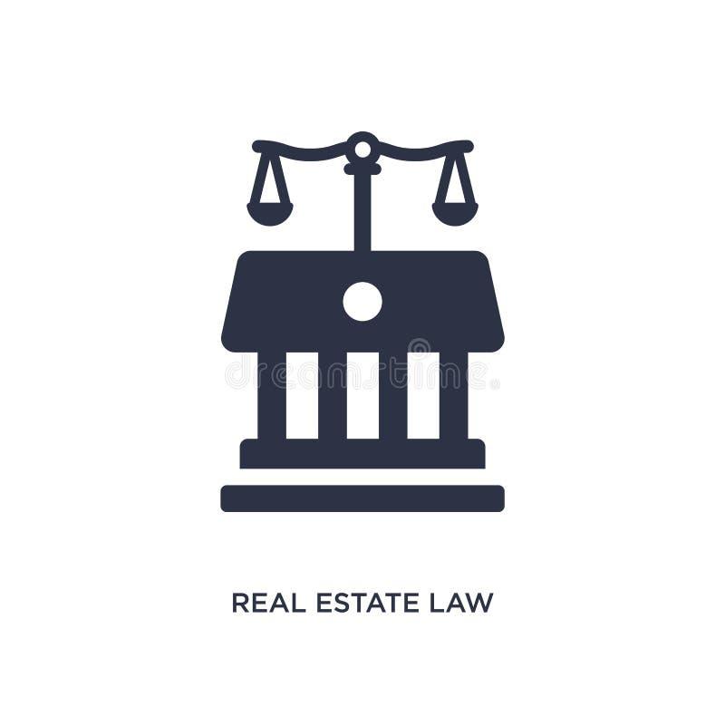 het pictogram van de onroerende goederenwet op witte achtergrond Eenvoudige elementenillustratie van wet en rechtvaardigheidsconc vector illustratie
