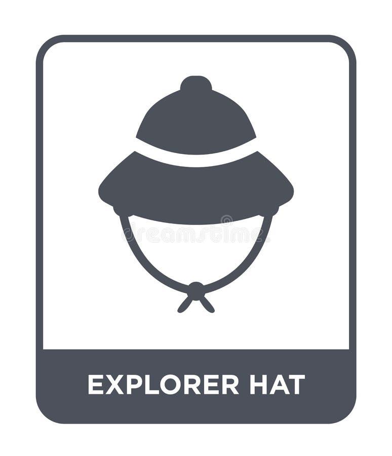 het pictogram van de ontdekkingsreizigerhoed in in ontwerpstijl het pictogram van de ontdekkingsreizigerhoed op witte achtergrond stock illustratie