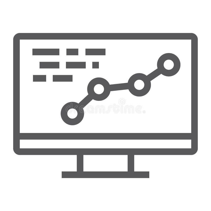 Het pictogram van de ontwikkelingslijn, optimalisering en codage, computerteken, vectorafbeeldingen, een lineair patroon op een w royalty-vrije illustratie