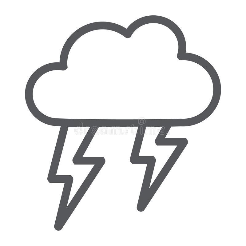 Het pictogram van de onweersbuilijn, weer en voorspelling, onweersteken, vectorafbeeldingen, een lineair patroon op een witte ach vector illustratie