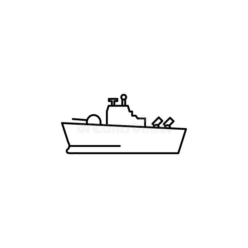 Het pictogram van de oorlogsschiplijn stock illustratie