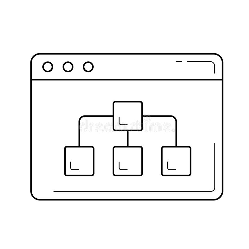 Het pictogram van de overzicht van de websitelijn vector illustratie