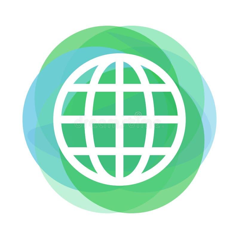 Het pictogram van de overzichtsbol boven abstracte groene en blauwe cirkels stock illustratie
