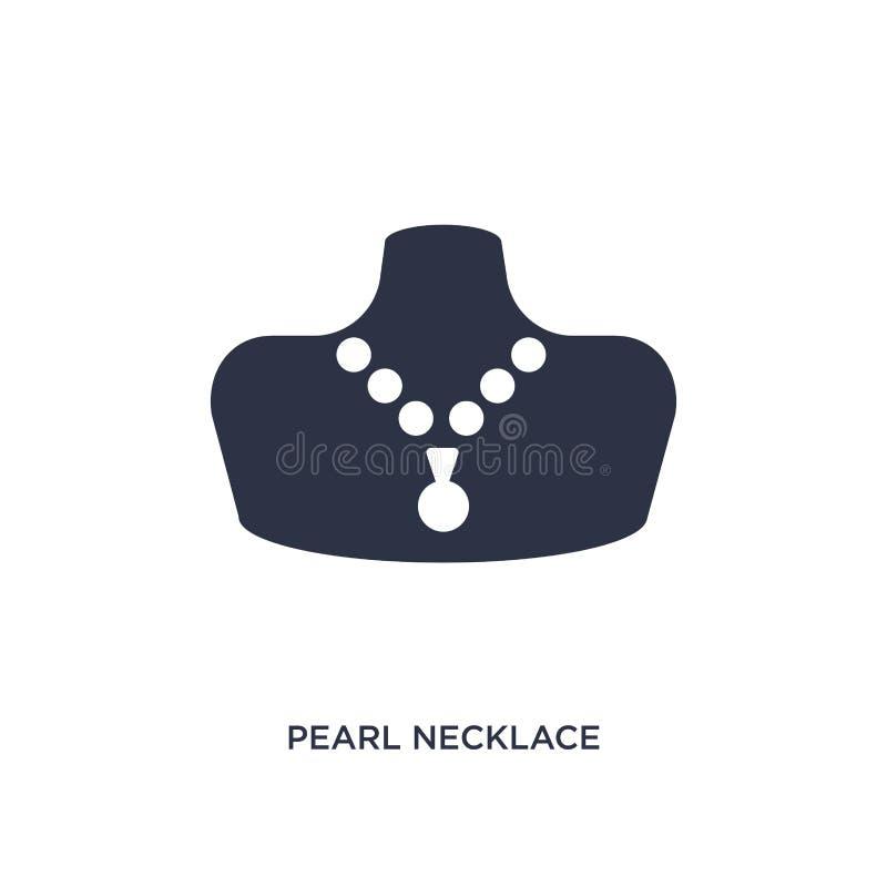 Het pictogram van de parelhalsband op witte achtergrond Eenvoudige elementenillustratie van juwelenconcept stock illustratie
