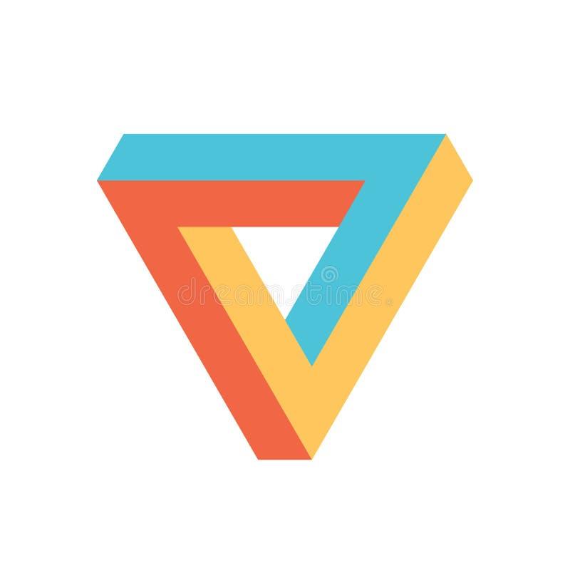 Het pictogram van de Penrosedriehoek in drie kleuren Geometrische 3D objecten optische illusie Vector illustratie stock illustratie