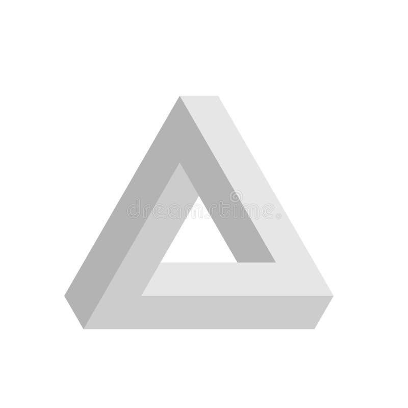 Het pictogram van de Penrosedriehoek in grijs Geometrische 3D objecten optische illusie Vector illustratie royalty-vrije illustratie