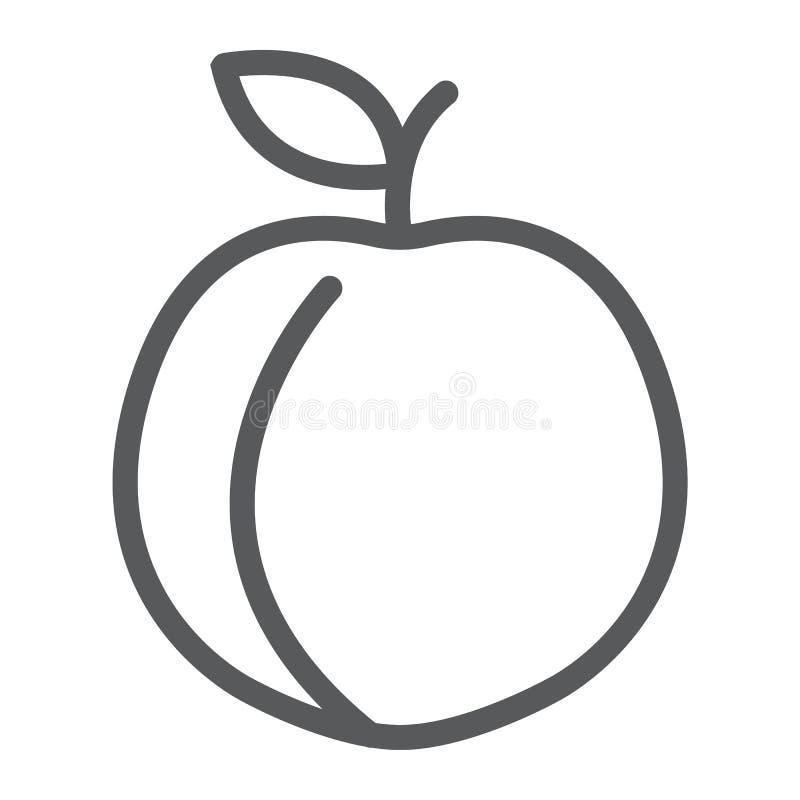 Het pictogram van de perziklijn, fruit en vitamine, abrikozenteken stock illustratie