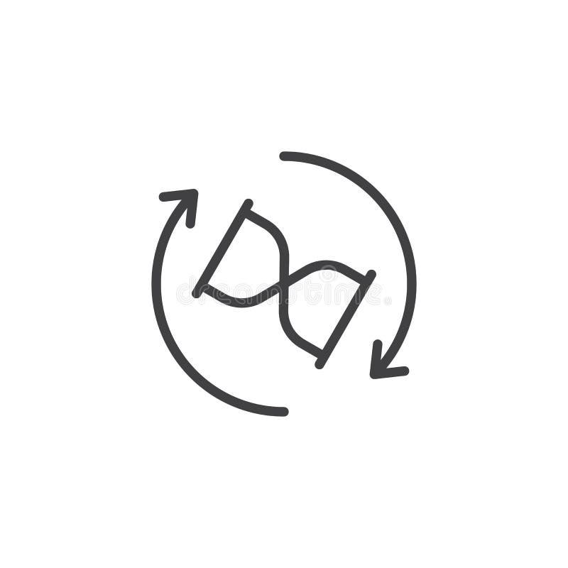 Het pictogram van het de pijlenoverzicht van de zandloperomwenteling royalty-vrije illustratie