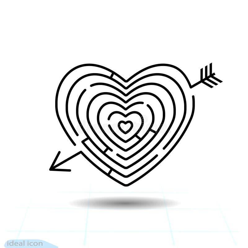 Het pictogram van het de Pijlhart van het hartlabyrint Het teken van de liefde Het symbool van de Dag van valentijnskaarten Lijnp stock illustratie