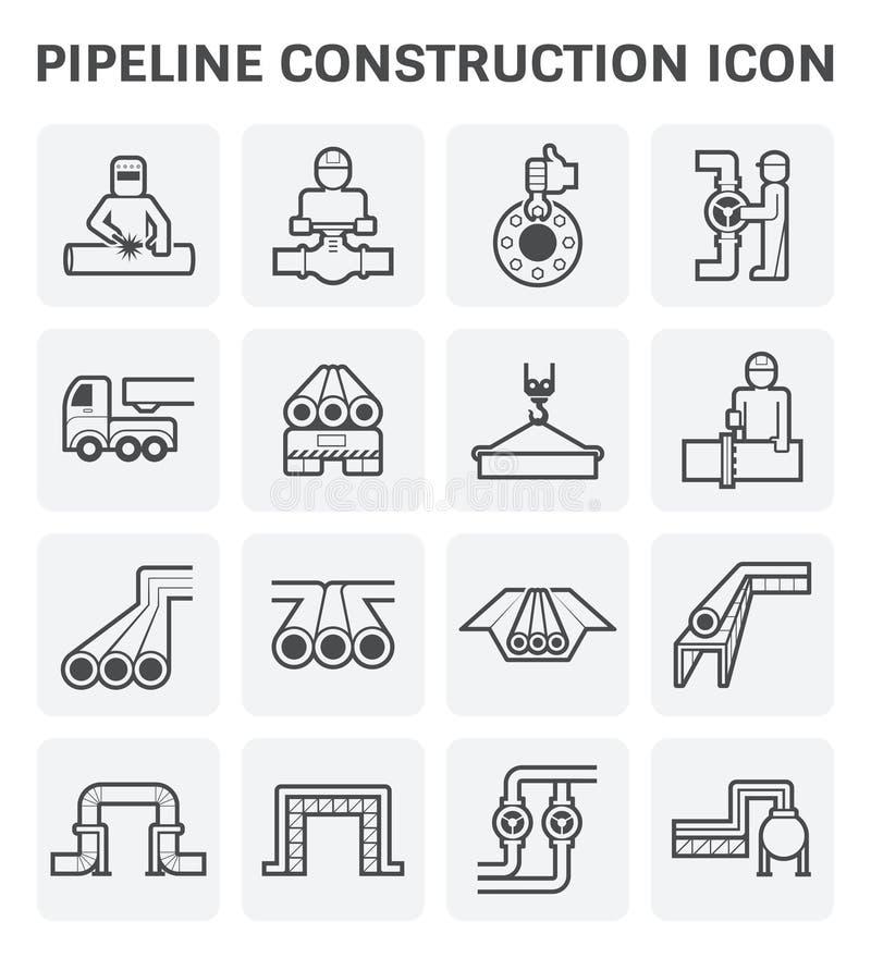 Het pictogram van de pijpleidingsbouw vector illustratie