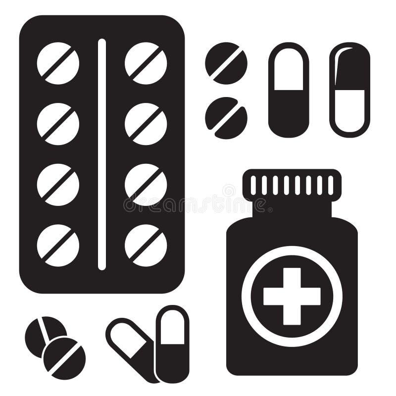 Het Pictogram van de pillenfles Capsules en pillenpictogram Gezondheidszorg vectorillustratie stock illustratie