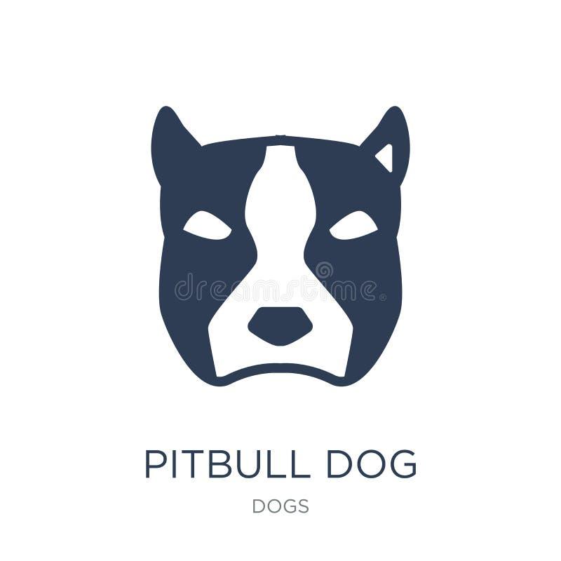 Het pictogram van de Pitbullhond In vlak vectorpitbull-hondpictogram op witte B stock illustratie