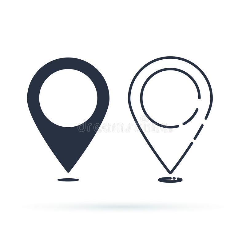 Het Pictogram van de plaats Speldteken op witte achtergrond wordt geïsoleerd die Navigatiekaart, gps of richting van plaatsconcep vector illustratie