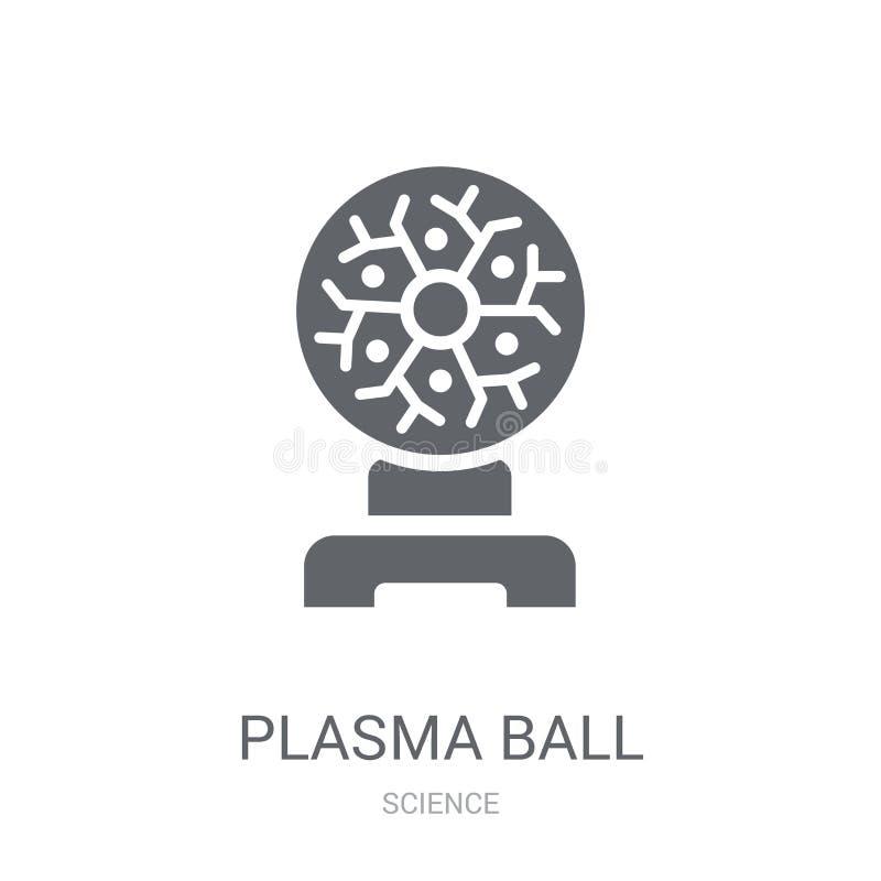 Het pictogram van de plasmabal In het embleemconcept van de Plasmabal op witte backg royalty-vrije illustratie