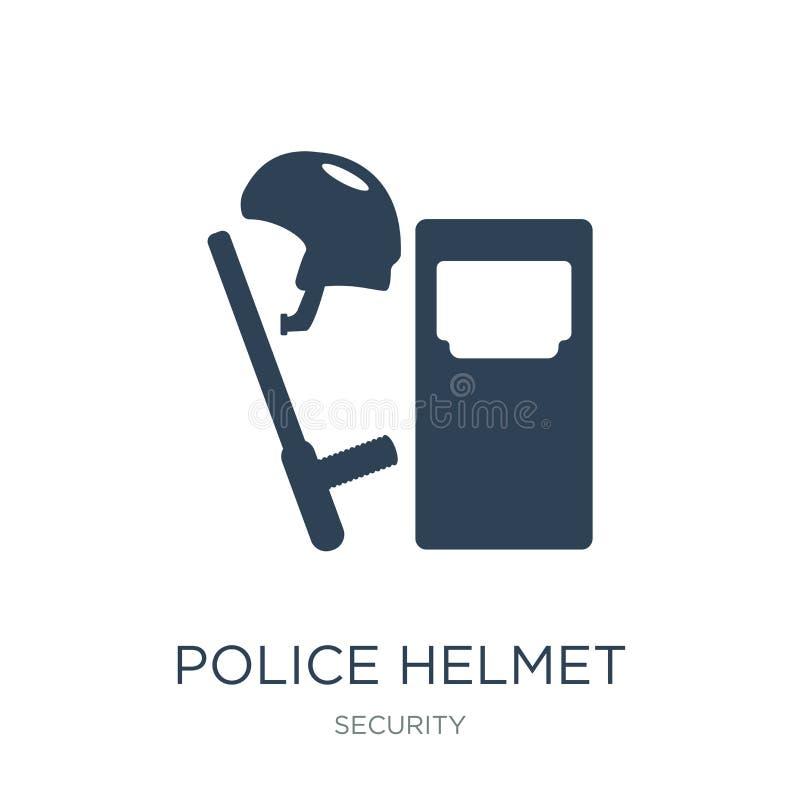 het pictogram van de politiehelm in in ontwerpstijl het pictogram van de politiehelm op witte achtergrond wordt geïsoleerd die he royalty-vrije illustratie