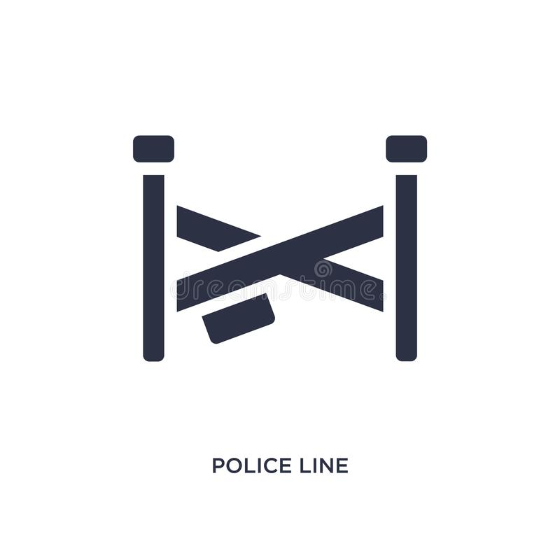 het pictogram van de politielijn op witte achtergrond Eenvoudige elementenillustratie van wet en rechtvaardigheidsconcept stock illustratie