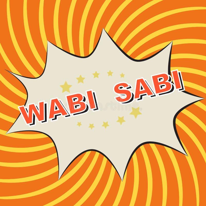 Het pictogram van de pop-artstrippagina op een oranje achtergrond: Wabi - Sabi stock illustratie
