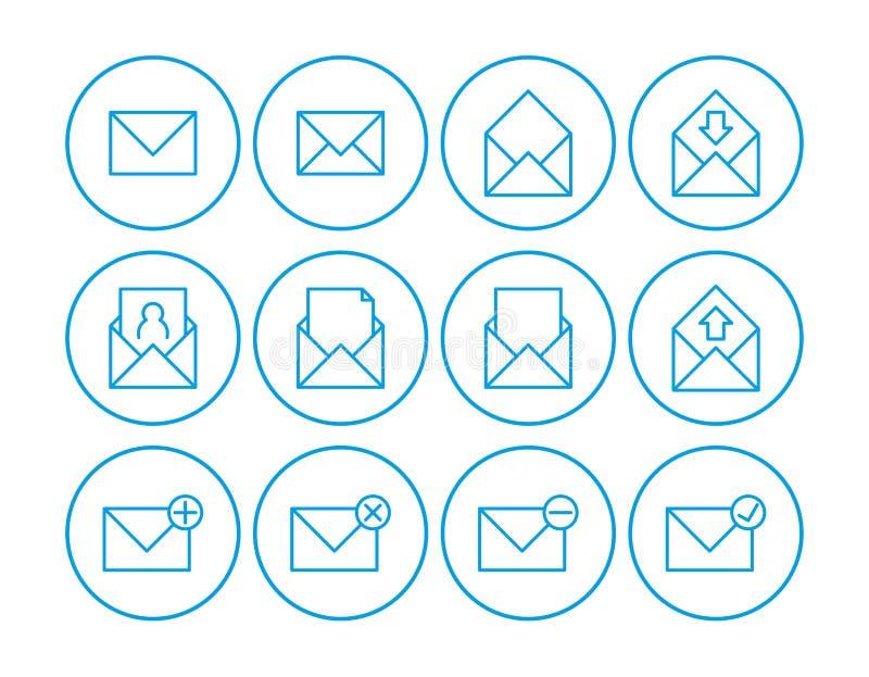 Het pictogram van de post grafische illustratie Reeks Pictogrammen van de Post Communicatie pictogrammen Contacteer ons pictogram vector illustratie