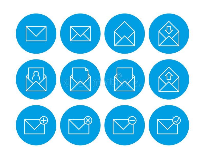 Het pictogram van de post grafische illustratie Reeks Pictogrammen van de Post Communicatie pictogrammen Contacteer ons pictogram stock illustratie