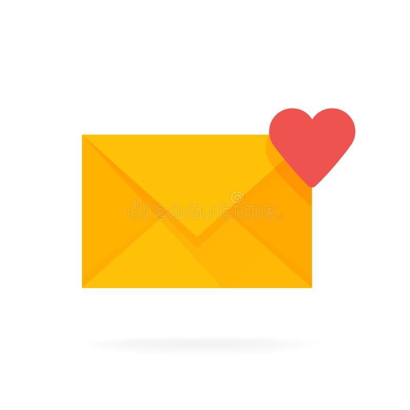 Het pictogram van de postenvelop met harten E-mail verzendt berichtconcept vectorillustratie stock illustratie