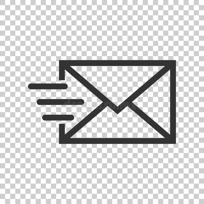 Het pictogram van de postenvelop in vlakke stijl E-mailberichtvector illustrat vector illustratie