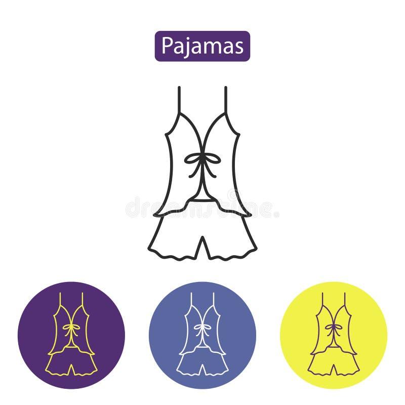 Het pictogram van de pyjama'slijn stock illustratie