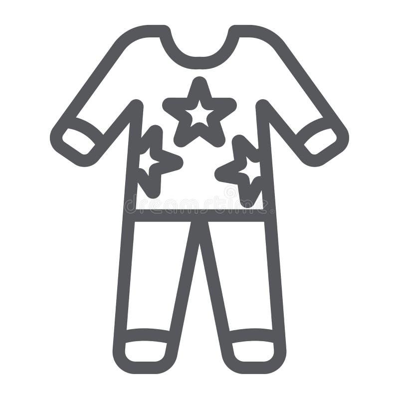 Het pictogram van de pyjama'slijn, kleren en nachthemden, pyjamateken, vectorafbeeldingen, een lineair patroon op een witte achte stock illustratie