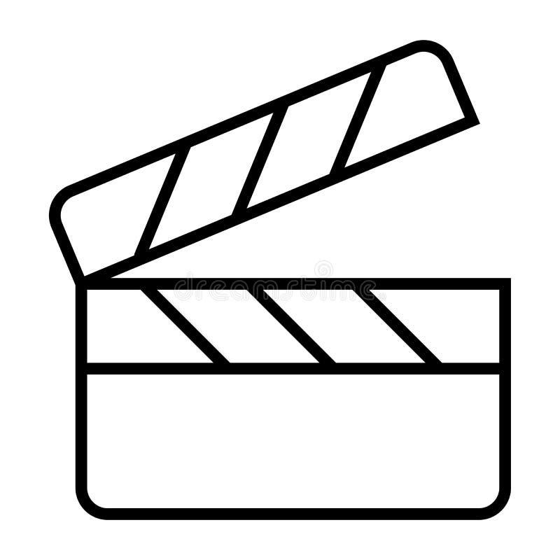 Het pictogram van de de raadslijn van de filmklep Het pictogram van de filmproductie Vector vector illustratie