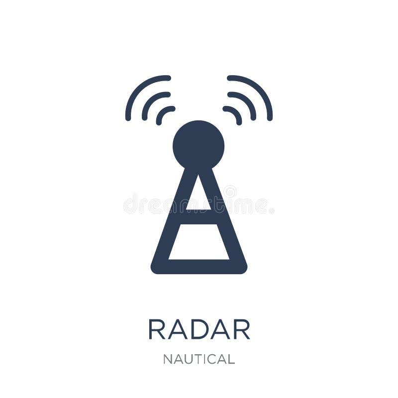 Het pictogram van de radar In vlak vectorradarpictogram op witte achtergrond Fr royalty-vrije illustratie