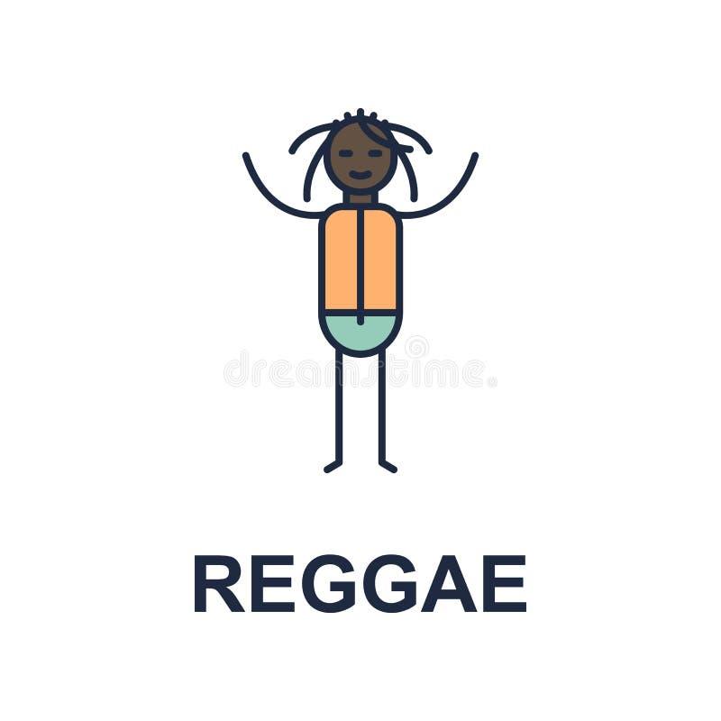 het pictogram van de reggaemusicus Element van het pictogram van de muziekstijl voor mobiel concept en Web apps Het gekleurde de  royalty-vrije illustratie