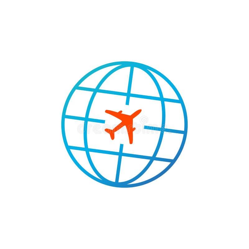 Het pictogram van de reis Bol met vliegtuigpictogram Vector illustratie die op witte achtergrond wordt geïsoleerdd stock illustratie